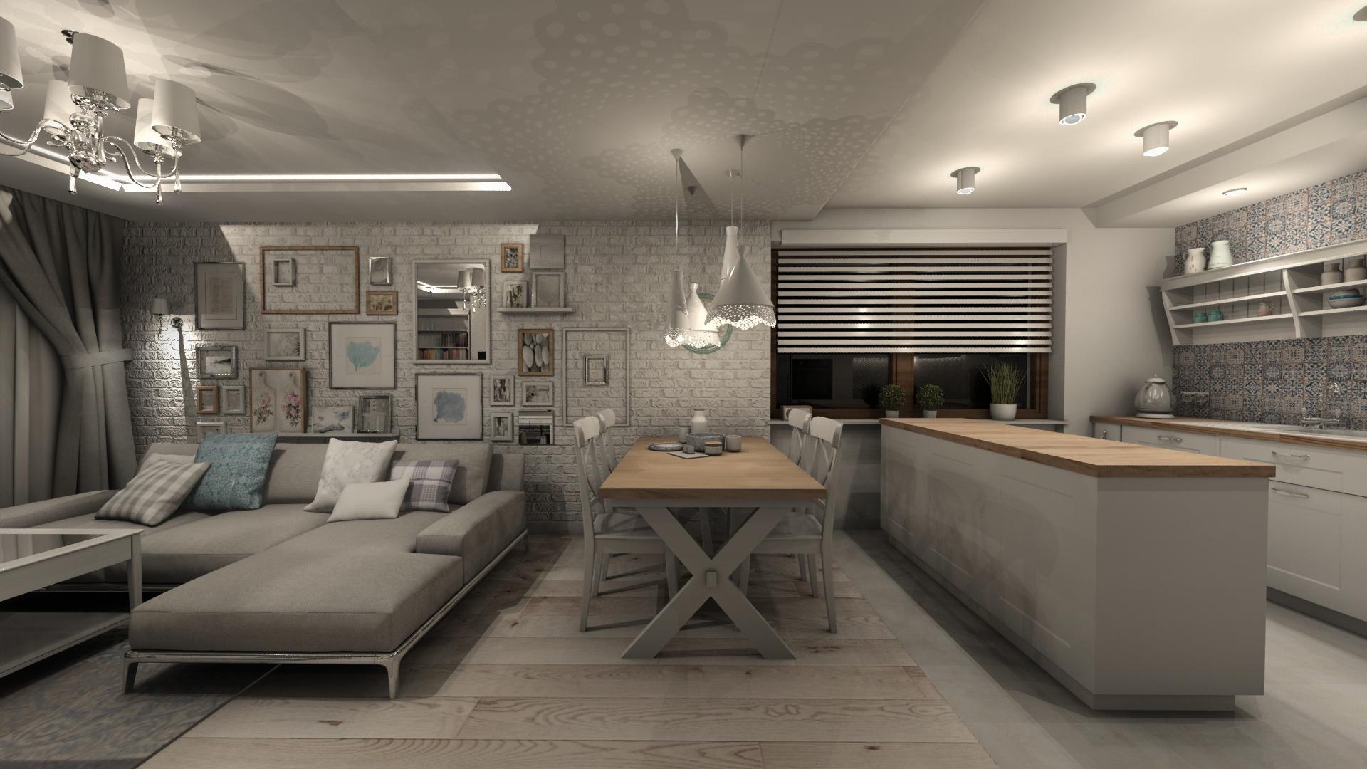 Angielski Salon Z Kuchnią W Domu Jednorodzinnym W