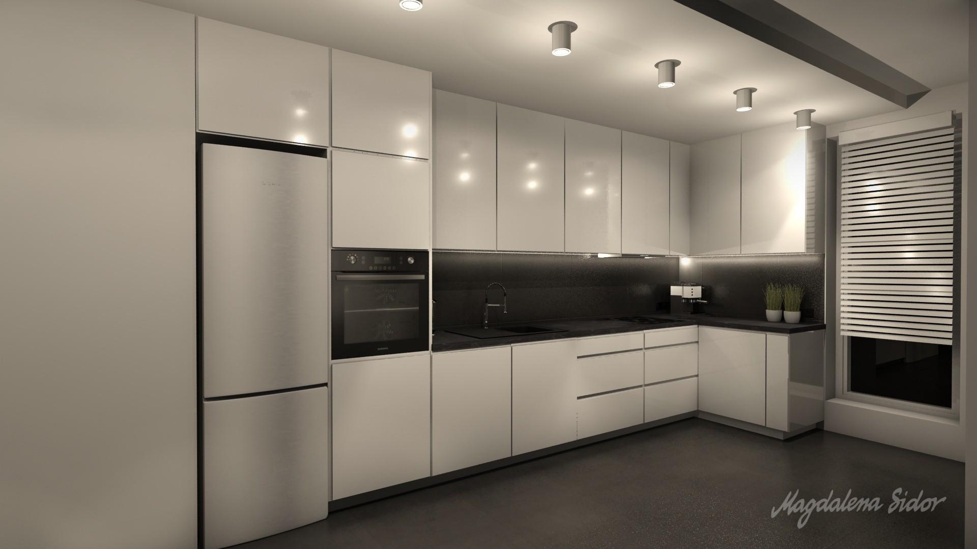 Czarno biała kuchnia w mieszkaniu w Mysłowicach   -> Kuchnia Czarno Kremowa