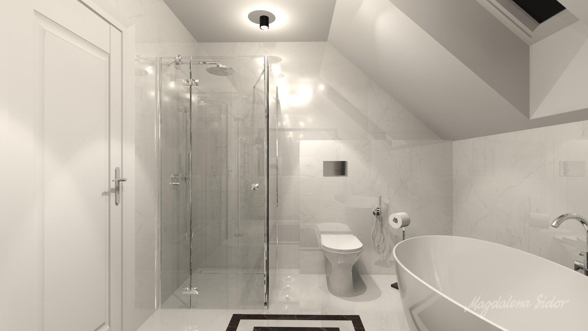Krakowski Dom W Stylu Hampton łazienka Na Piętrze