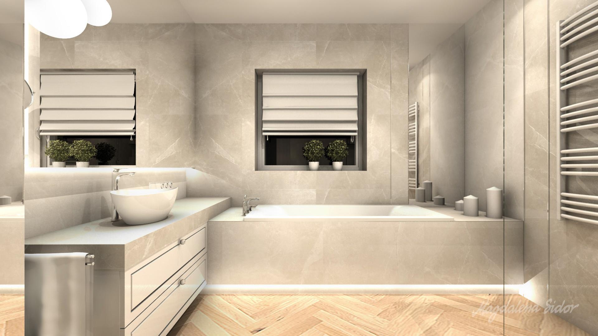 Nowoczesna łazienka Z Klasyczna Nutą W Domu Jednorodzinnym W