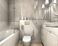 Klasycznie w paski - łazienka mieszkania w Sosnowcu