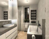 Odcienie szarości w łazience mieszkania w Katowicach