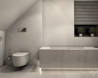 Motyw 3D w białej łazience w domu jednorodzinnym w Mikołowie