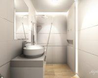Kremowa łazienka w domu jednorodzinnym w Orzeszu