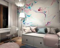 Motywy roślinne w mieszkaniu w Katowicach - pokój dziewczynki