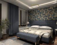 Motywy roślinne w mieszkaniu w Katowicach - sypialnia