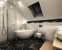 Marmurowy wzór w łazience bliźniaka w Będzinie