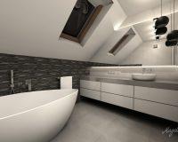 Łazienka z czarną mozaiką w Rybniku