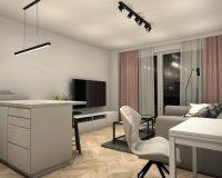 Apartament na wynajem w Katowicach - salon z kuchnią
