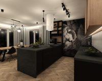 Apartament w Gliwicach - salon z kuchnią