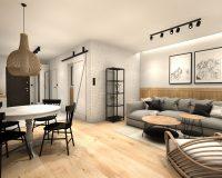 Apartament na wynajem w Zakopanem - salon z kuchnią