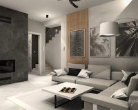 Marmurowy wzór w salonie bliźniaka w Będzinie