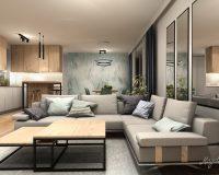 Motyw bambusa w salonie mieszkania w Mikołowie